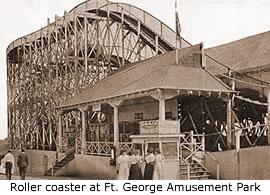 Roller coaster at Fort George Amusement Park